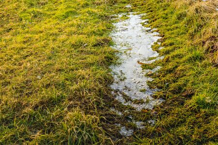 onset: Ice leftover in the grass after the onset of the thaw in the winter season. Stock Photo