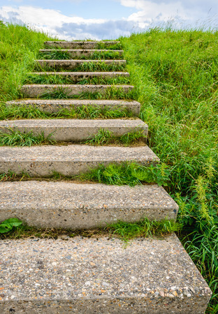 Concrete stairs in a Dutch dike covered with fresh green grass on a sunny day in the summer season.