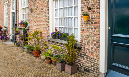 Varied pots and plants in front of the facade of the historic beguinage in the Dutch of Breda, North Brabant. Its a warm day in the spring season. Lizenzfreie Bilder