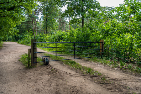 Iron gate between wooden posts on a sandy path in a Dutch forest. Stock Photo