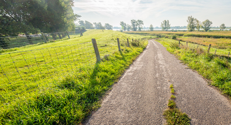 Backlit image of a narrow country road between fences. It is early in the morning of a sunny day in the beginning of the fall season. In the background is a wide Dutch river. Lizenzfreie Bilder