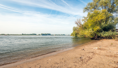 Breiter niederländischer Fluss früh morgens eines sonnigen Tages am Anfang der Herbstsaison. Im Hintergrund wächst ein Weidenbaum am Rande des Wassers.