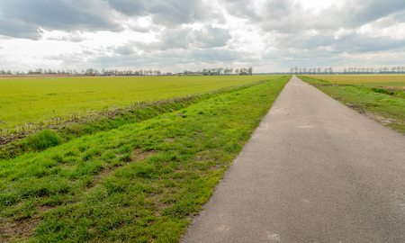 Seemingly endless country road in an agricultural landscape with fresh green grass next to ditches in a Dutch polder. It is a cloudy day in the beginning of the spring season.