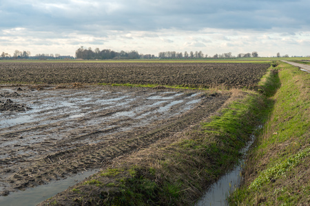 Dutch landscape with two large fields at the end of the winter season. One of the fields was plowed before the winter after harvesting, while puddles of water are on the other field.