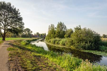 Rural landscape with a small reflecting stream in the low sunlight of a summer evening. The photo was taken at the edge of the Dutch village of Terheijden, municipality of Drimmelen, Noord-Brabant.