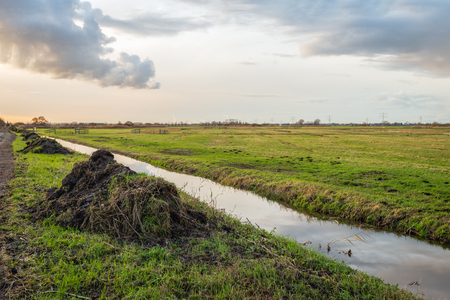 Heaps of plant remains and other waste after dredging the polders ditch. Periodic maintenance of the waterways is required by the Dutch government. Banque d'images