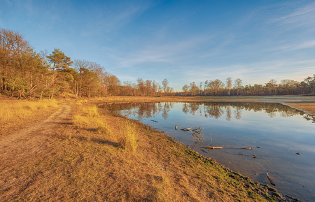 Small lake in the low light of the setting sun. The photo was taken in the Dutch nature reserve Boswachterij Dorst in North Brabant.