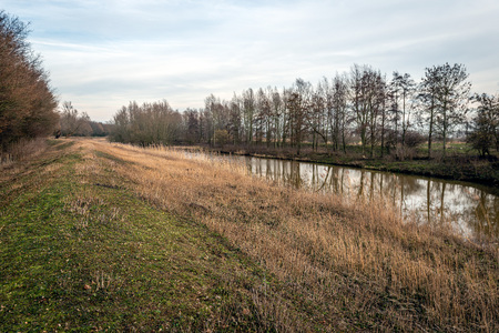 Colorful landscape with the narrow river Donge and an embankment in a Dutch nature reserve near the village of Raamsdonksveer,  North Brabant. The photo was taken in the winter season. Stockfoto - 124903541