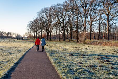 Two unidentified women hiking in the park. It is early in the morning of a sunny day in the winter season. The photo was taken in nature reserve Markdal near the city of Breda, North Brabant. Archivio Fotografico - 124903656