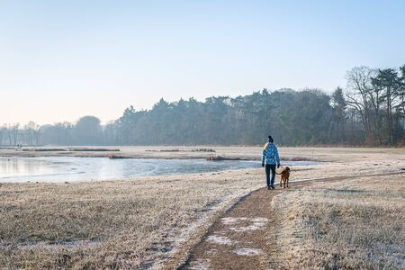 Unidentified woman with hat walks the dog on a curved path. It is early in the morning on a beautiful winters day. The photo was taken in the Markdal nature reserve, south of the Dutch city of Breda.