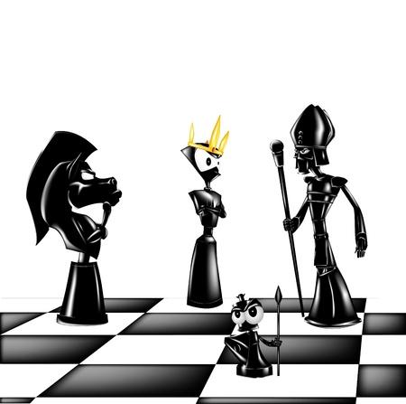 Quattro figure di scacchi su una scacchiera Archivio Fotografico - 15064924