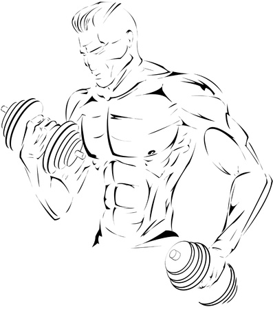The figure of sportsman  Can be used in advertising of sport s gym or fitness training