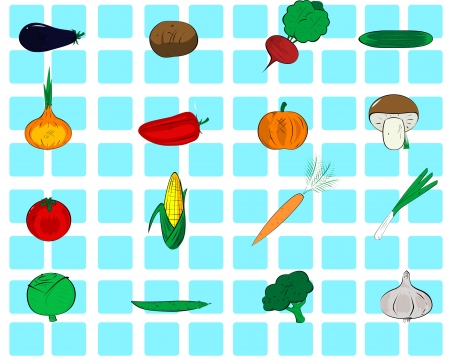 sixteen icons of different types of vegetables