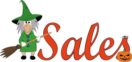 mummery: funny witch next to the discounts