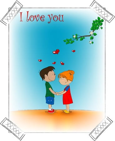 Two cute cartoon character  Romantic picture   Illustration