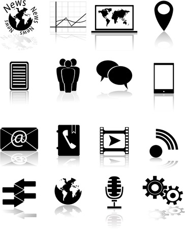 Monochrome icons  Vector Stock Vector - 23641706