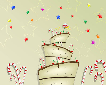Cartoon Cake. Vector 10 Illustration