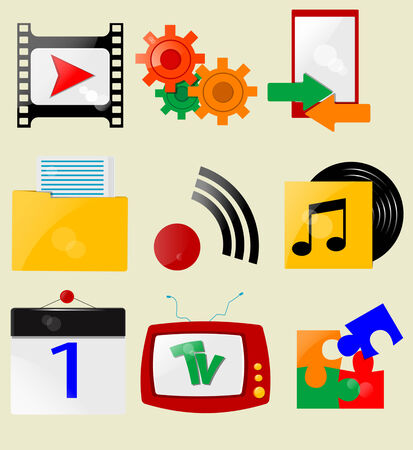 Retro icons. Vector Stock Vector - 24546178