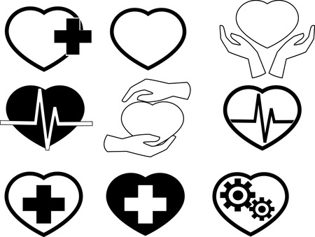cardiograph: Heart icons. Vector eps 10 Illustration