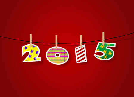 2015 numbers. Happy New Year card template. Merry Christmas Cover. Illustration