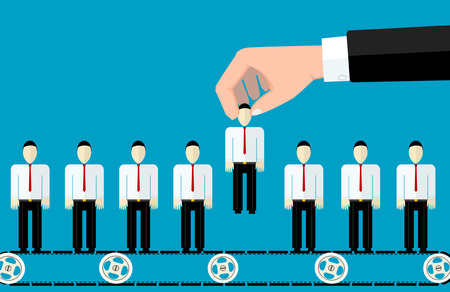 Het concept van het zoeken naar professionele spullen, headhunter baan, kwestie werkgelegenheid, human resources management of analyseren van personeel te hervatten. Stock Illustratie