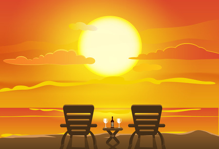 Sunset view in beach Ilustração