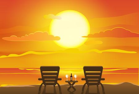 Sunset view in beach Vettoriali