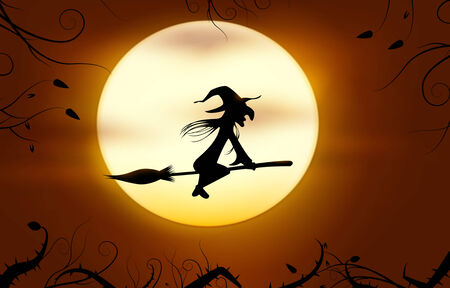 Flying witch. Halloween background.  Vector