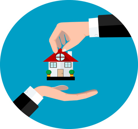 Hand giving house. Vector eps 10 Vector