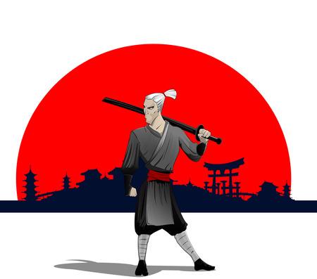 sword silhouette: Cartoon samurai with sword, Vector eps 10 Illustration