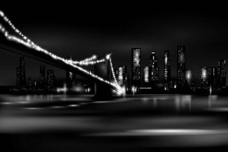 Night city quay. Vector eps 10