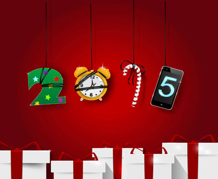 New year artistic numbers. Holiday card template.
