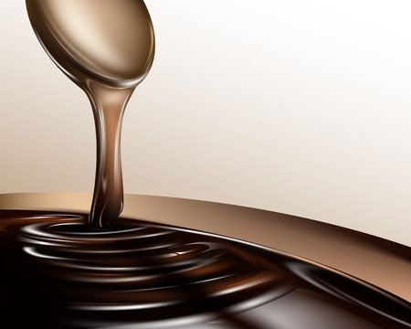 Liquid chocolate dripping from a spoon