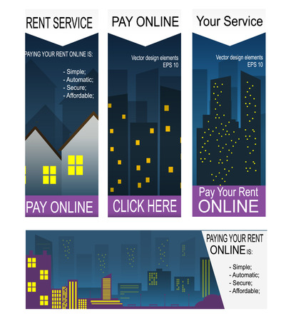 Paying rent on-line banners Illustration