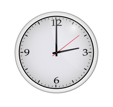 Icon of white clock with shadow. Vector illustration Vector