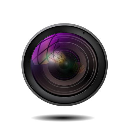 illustration of colorful camera lens on white background