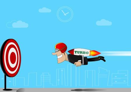 businessman flying to target