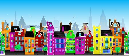 Seamless vector pattern of European city Illustration