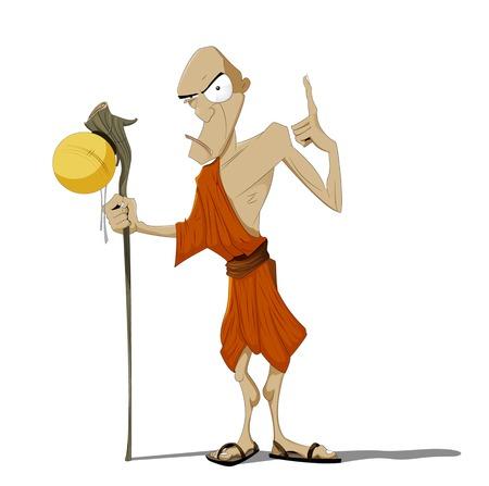 Fun cartoon Buddhist Monk. Vector