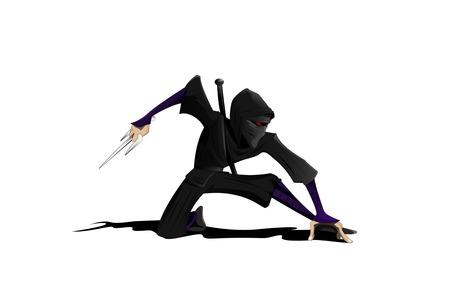 Cartoon ninja. Vector illustration Illustration