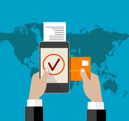 mobile payment credit card Illustration
