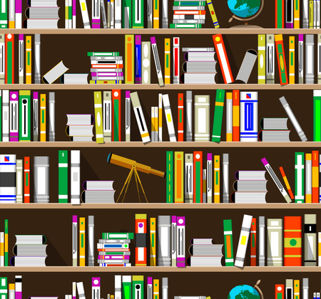 Cartoon bookshelves in the library