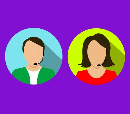 Vector call center concept with man and woman in headset Illustration
