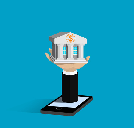 mobile banking: Flat isometric mobile banking concepts.