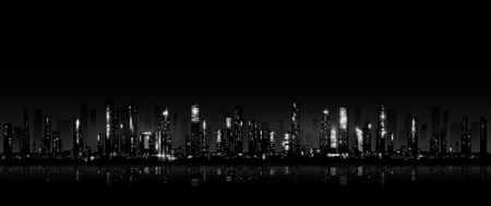 manhattan skyline: Night city skyline