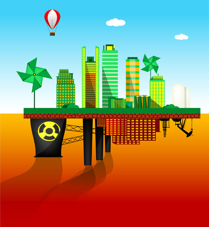 Green and polluted cities. Vector