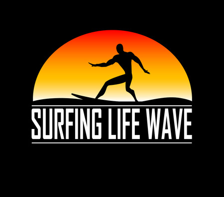 silhouettes of surfer. Vector