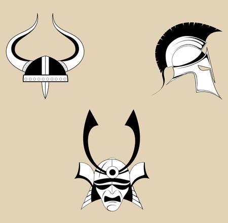 Roman or Greek Helmet , Spartan Helmet, Samurai helmet.vector. Illustration