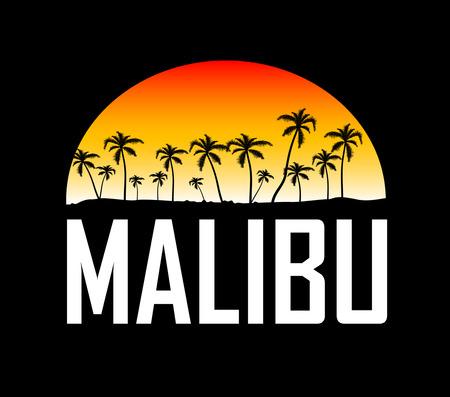 マリブ サーフィン スポーツ タイポグラフィ、t シャツのグラフィック、ベクトル  イラスト・ベクター素材