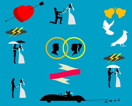 paloma caricatura: Parejas de la boda en la silueta, vector